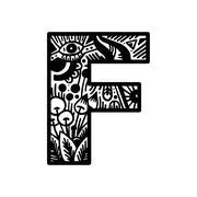 Hand drawn alphabet letter F vector isolated on white background. For shirt d - stock illustration