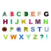 Colorful hand drawn alphabet vector isolated on white background. For shirt d Stock Illustration