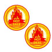Hot sale and deal on fire, yellow and red drawn round labels with flames sign Piirros