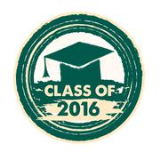 Class of 2016 with graduate cap with tassel, round label Stock Illustration