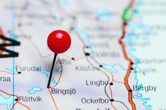 Bingsjo pinned on a map of Sweden - stock photo
