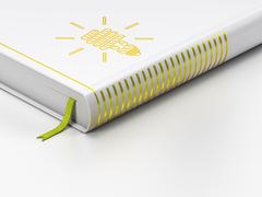 Finance concept: closed book, Energy Saving Lamp on white background Stock Illustration