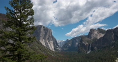 Yosemite national park mountain waterfall blue sky cloud time-lapse Stock Footage