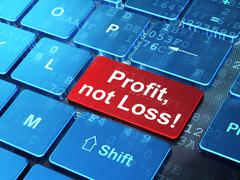 Finance concept: Profit, Not Loss! on computer keyboard background - stock illustration