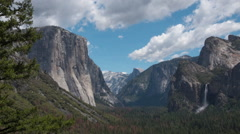 Yosemite national park mountain waterfall blue sky cloud time-lapse - stock footage