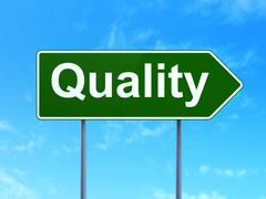 Advertising concept: Quality on road sign background - stock illustration