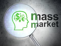 Marketing concept: Head With Finance Symbol and Mass Market with optical glass - stock illustration