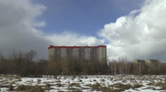 Timelapse footage of human estate landscape on sunny winter day Stock Footage