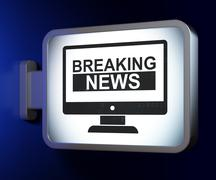 News concept: Breaking News On Screen on billboard background - stock illustration