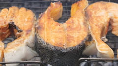Grilled fish on the grill Stock Footage