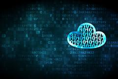 Cloud computing concept: Cloud With Code on digital background Stock Illustration