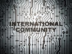 Politics concept: circuit board with International Community - stock illustration