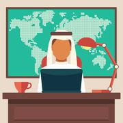 Arabian Businessman Working in The Office - stock illustration