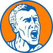 Angry Man Shouting Circle Retro - stock illustration