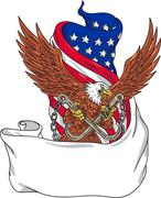 American Eagle Clutching Towing J Hook Flag Unfurled Drawing Stock Illustration