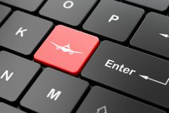 Travel concept: Aircraft on computer keyboard background - stock illustration