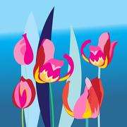 Bright background with multi-colored tulip - stock illustration