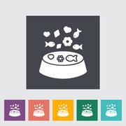 Animal Bowl Flat Icon - stock illustration