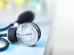 Blood pressure gauge in Doctors surgery Stock Photos