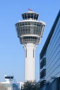 Air traffic control tower in Munich international passenger hub airport - stock photo