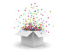 Open Gift Box and Confetti. Christmas Background.  Illustration 3d rendering Piirros