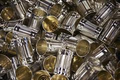 Empty clean aluminium cans Stock Photos