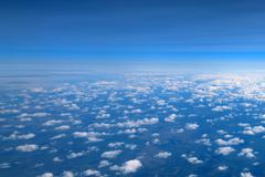 Aerial view of clouds and sky - stock photo