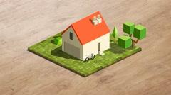 4k - Isometric little house mockup Stock Footage