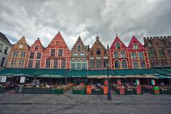 MARKETPLACE IN BRUGES IN JUNE 2014 - stock photo