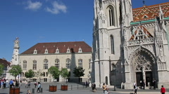 Budapest, Hungary - 8 May, 2016: The Matthias Church, the Fishermen's Bastion. Stock Footage