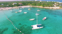 4K Aerial drone shot mexico akumal from boat to shore Stock Footage