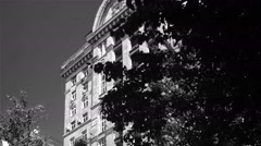 Retro-styled historical building, architectural landmark, black and white Stock Footage