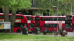 Red busses in London, England Stock Footage