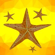 Starfish on a Yellow Polygonal Background - stock illustration