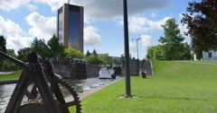 Boat Enters The Ottawa Locks on A Beautiful Summer's Day Stock Footage