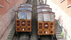 Budapest, Hungary: Two funiculars pass each other as traverse - stock footage