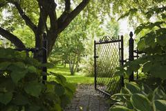 Path and open garden gate in spring Stock Photos