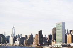 East river and Manhattan cityscape, New York City, USA - stock photo