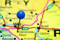 Sannicolau Mare pinned on a map of Romania Stock Photos