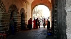 People entry in the medina of Essaouira, 20 november 2015, essaouira, MOROCCO Stock Footage