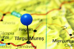 Targu Mures pinned on a map of Romania Stock Photos