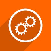 gear icon. Orange flat button. Web and mobile app design illustration - stock illustration