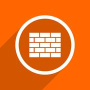 firewall icon. Orange flat button. Web and mobile app design illustration - stock illustration