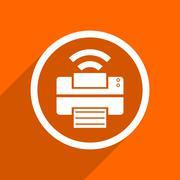 printer icon. Orange flat button. Web and mobile app design illustration - stock illustration