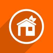 house icon. Orange flat button. Web and mobile app design illustration - stock illustration