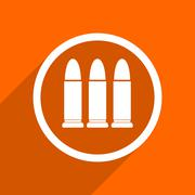 Ammunition icon. Orange flat button. Web and mobile app design illustration Stock Illustration