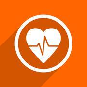 pulse icon. Orange flat button. Web and mobile app design illustration - stock illustration