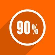 90 percent icon. Orange flat button. Web and mobile app design illustration Stock Illustration
