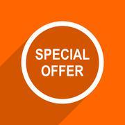 special offer icon. Orange flat button. Web and mobile app design illustratio - stock illustration