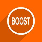 Boost icon. Orange flat button. Web and mobile app design illustration Stock Illustration